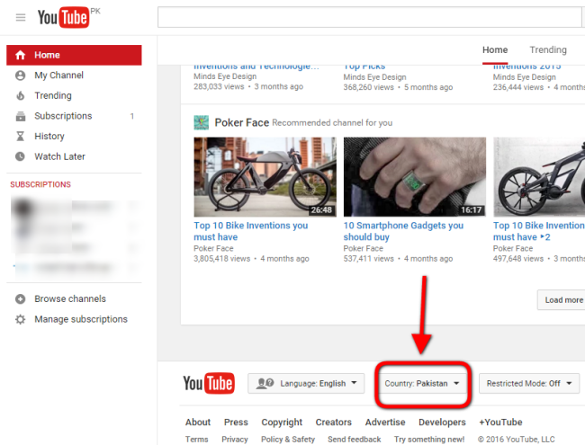 youtube country settings home page bottom